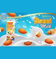 almond milk advertising design with splashing vector image vector image