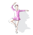 Ballerina little girl in a pink dress and pointe vector | Price: 3 Credits (USD $3)