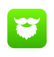 beard and mustache icon digital green vector image