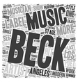 Beck A Modern Musician And Poet Returns To The vector image vector image