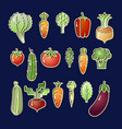 bright cartoon style vegetable eating set vector image vector image
