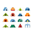 camping set tent tourist tent with a canopy vector image