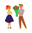 cartoon couple with flower bouquet - young man vector image