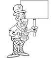 Cartoon Man Wearing a Derby and Holding a sign vector image vector image