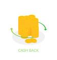 cash back icon isolated on white background cash vector image