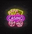 casino neon illuminated signboard vector image
