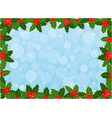 christmas card frame background with holly leaves vector image