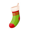 christmas green and red sock for holiday presents vector image vector image