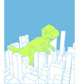 city and dinosaur abstract skyline and monster vector image