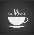 coffee cup lettering isolated on black background vector image