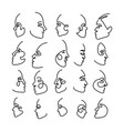continuous line head prifile drawing collection vector image