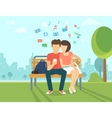 Couple with smartphone outdoors vector image vector image