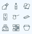 culinary icons line style set with kitchen gloves vector image