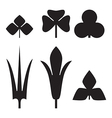 decorative black leaves pattern set isolated on vector image vector image