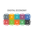 digital economy cartoon template with flat vector image vector image