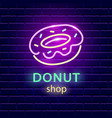 donut shop neon logo sign on dark brick wall vector image vector image