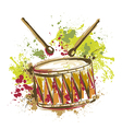 drum with splashes in watercolor style vector image vector image