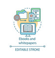 ebooks and whitepapers concept icon content vector image vector image