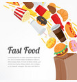 fast food background with colorful food icons vector image vector image
