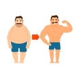 Fat and slim man with mustache vector image vector image