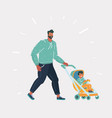 father walking with a bain a stroller vector image