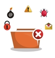 folder file virus alert graphic vector image vector image