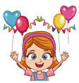 girl on birthday with ballons and pennants vector image vector image