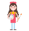 Girl painter with a palette vector image vector image