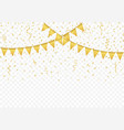golden flags with confetti background vector image vector image