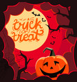 halloween with clouds and pumpkin vector image vector image