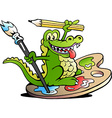 hand-drawn an happy creative artist crocodile vector image