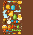 happy easter seamless pattern with holiday items vector image vector image