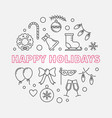 happy holidays round in thin vector image