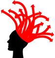 head with red arrows vector image vector image