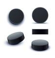 hockey puck set vector image vector image