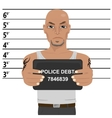 Latino gangster with tattoos holding mugshot vector image vector image