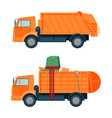 long orange dumpster truck with empty and full vector image