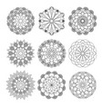 mandala round ornament set vector image