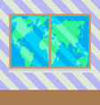 Map of world from window vector image vector image