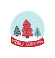 merry christmas card with christmas tree vector image vector image
