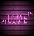 neon inscription love neon sign love with pink vector image vector image