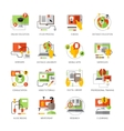 Online Education Flat Color Pictograms Set vector image
