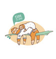 pair of mom and baby sloths sleeping on branch vector image