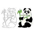 panda with a bamboo branch the image for the vector image vector image