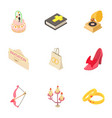 partiality icons set isometric style vector image vector image