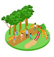 people have relax in park isometric concept vector image vector image