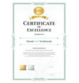 portrait certificate of excellence template with vector image vector image