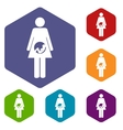 Pregnancy rhombus icons vector image vector image