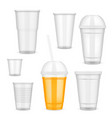 realistic transparent disposable plastic vector image vector image