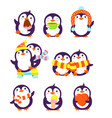set cute cartoon penguins in different poses vector image